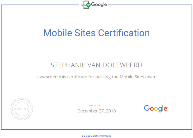 Google Mobile Sites Certificate